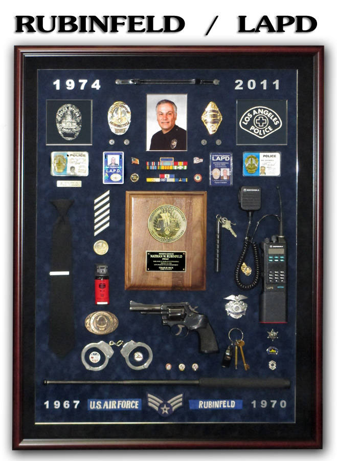 Rubinfeld / LAPD Police Retirement Shadowbox from Badge Frame
