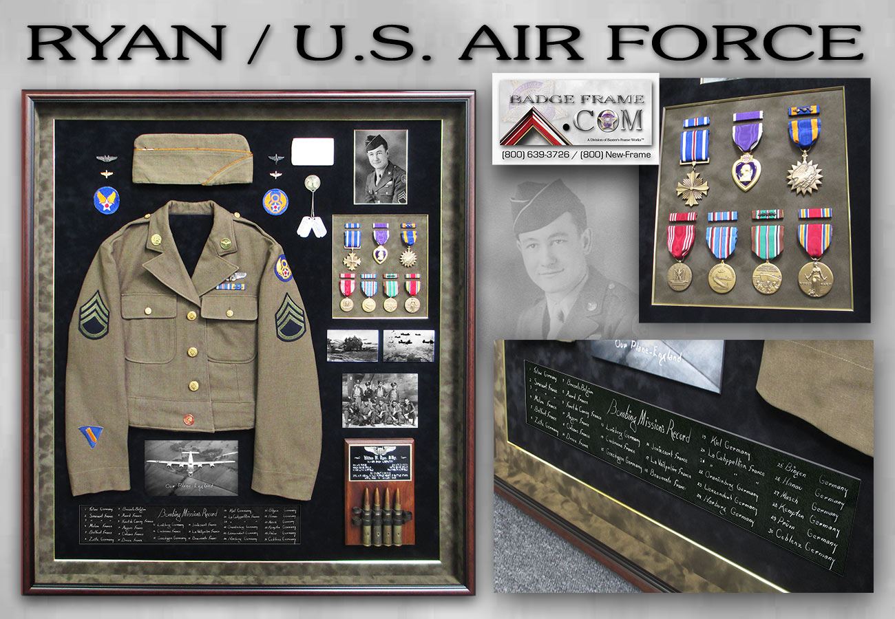 U.S. Airforce Shadowbox from Badge Frame fro William Ryan