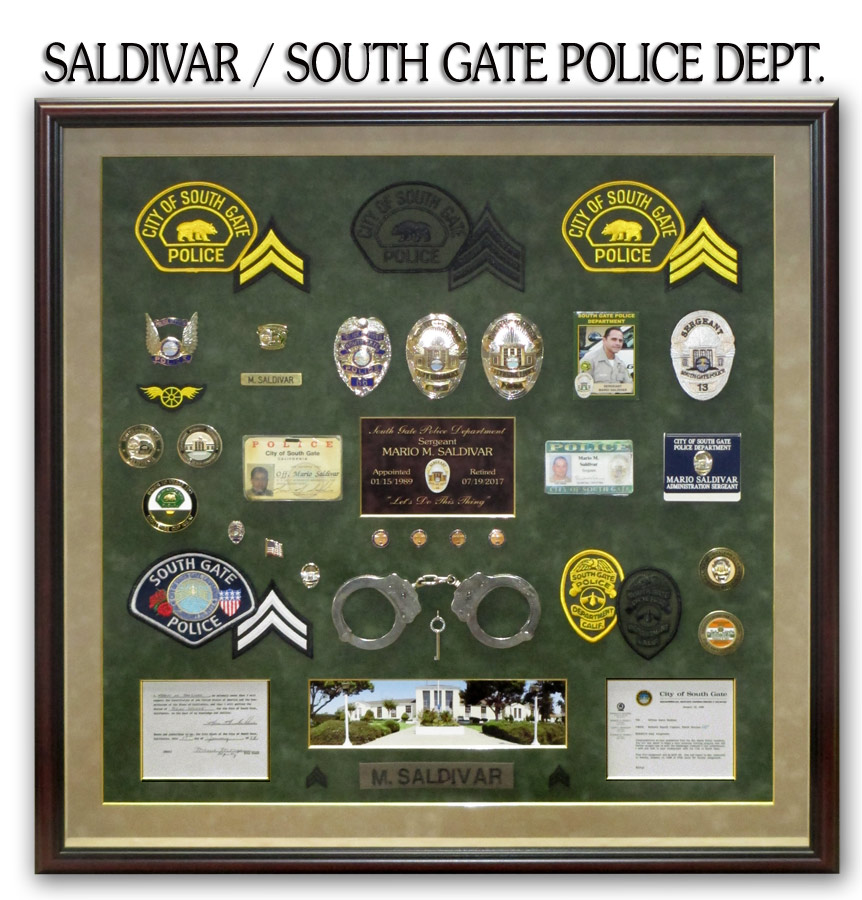 Saldivar / South Gate PD Retirement presentation fomr Badge Frame