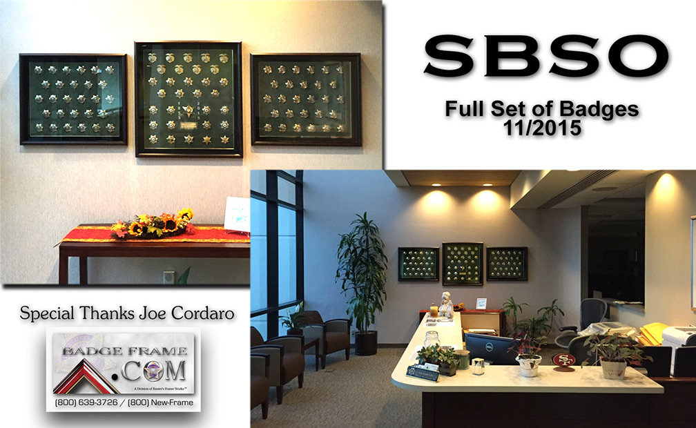 San Bernardino County Sheriff           - Complete Badge Collection from Badge Frame