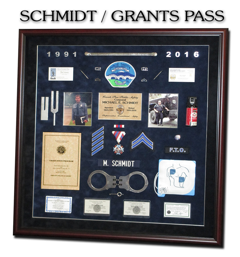 Schmidt / Grants Pass PD -             Police Retirement Shadowbox from Badge Frame