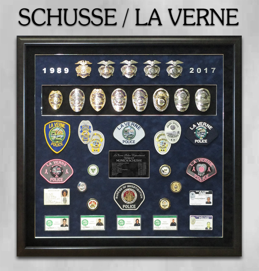 Schusse / LaVerne PD Police Retirement Shadowbox from Badge Frame