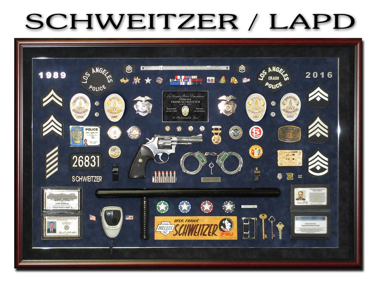 Police Retirement Shadowbox from Badge Frame for           Schweitzer - LAPD
