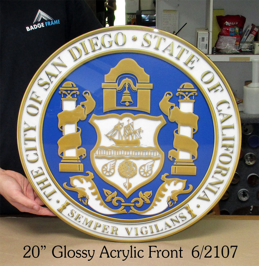 San Diego Glossy Acrylic Seal from Badge Frame