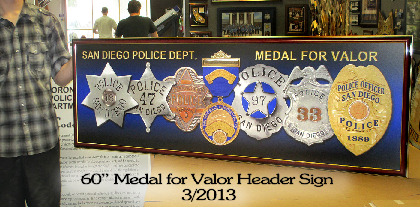 San Diego PD - Medal For Valor header sign