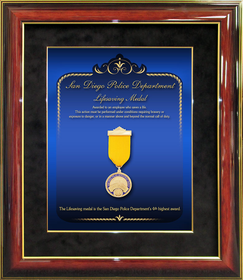 Police Lifesaving Medal Presentation from Badge Frame for San Diego PD