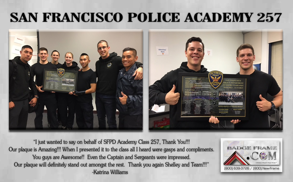 San Francisco PD Academy Class 257 presentation from Badge Frame