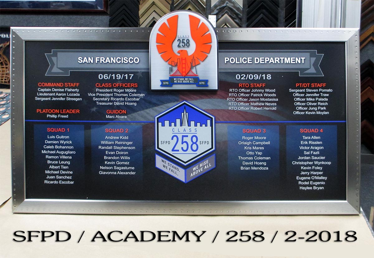 San Fracisco Police Academy Class 258 presentation from Badge Frame