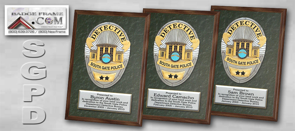 South Gate PD -             Recognition Plaques