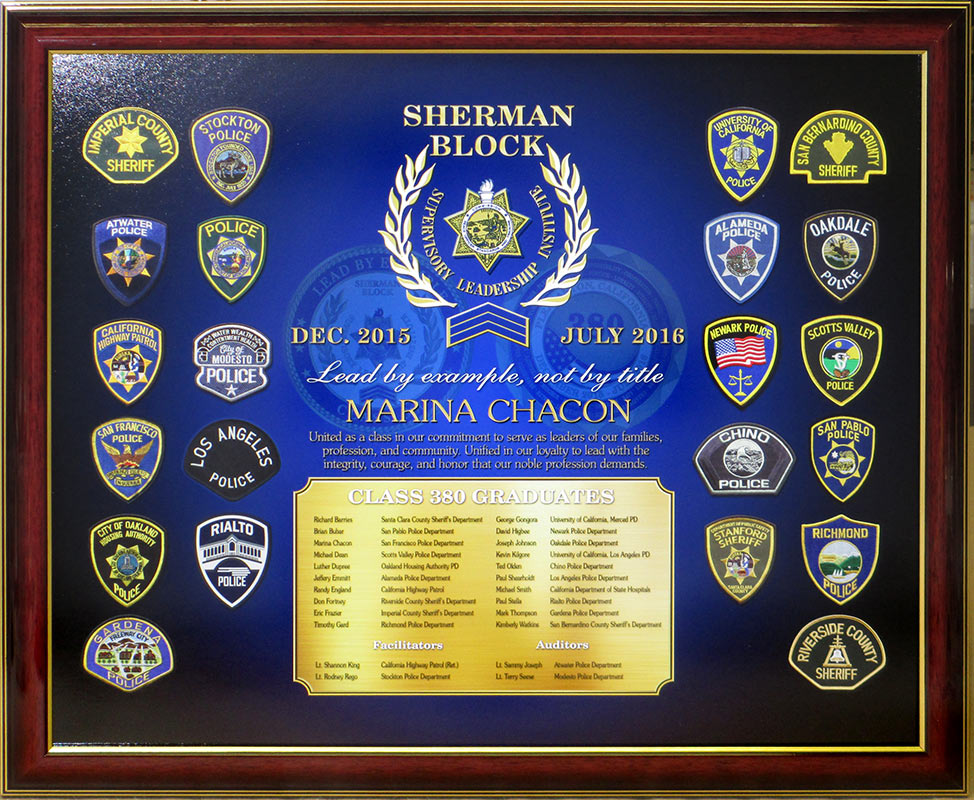 Custom Sherman Block Leadership                             presentation from Badge Frame