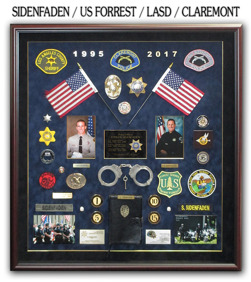 Sidenfaden - Claremont PD Police Retirement Shadowbox from Badge Frame
