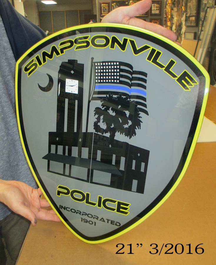 "Simpsonville PD Glossy 21"" Patch                             Graphic"