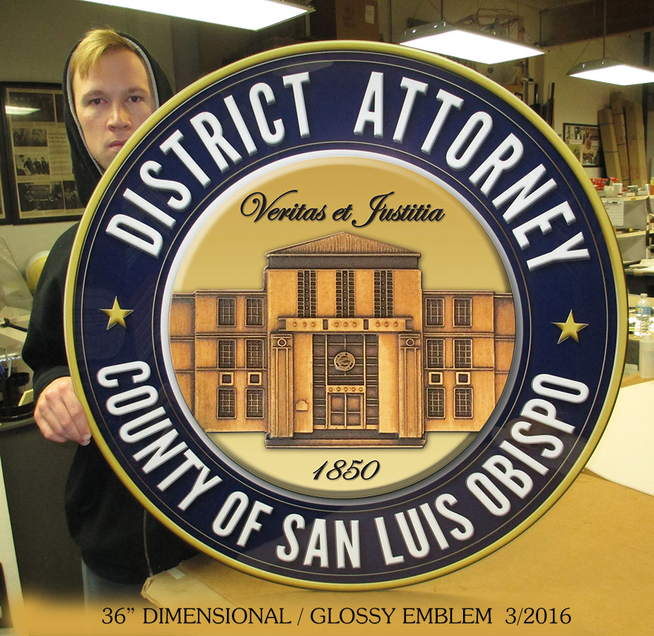 "San Louis Obispo Large 36"" Glossy Dimensional  Emblem from Badge Frame"
