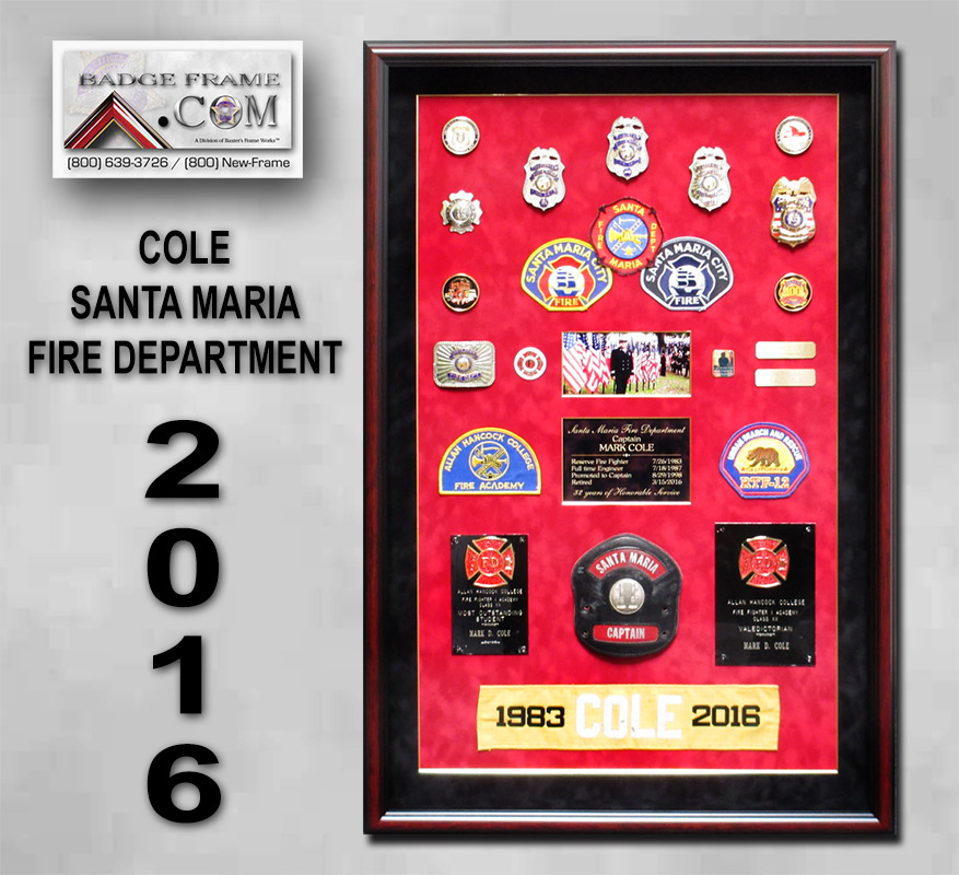 Santa Maria Fire Department - Cole Retirement Presentation from Badge Frame