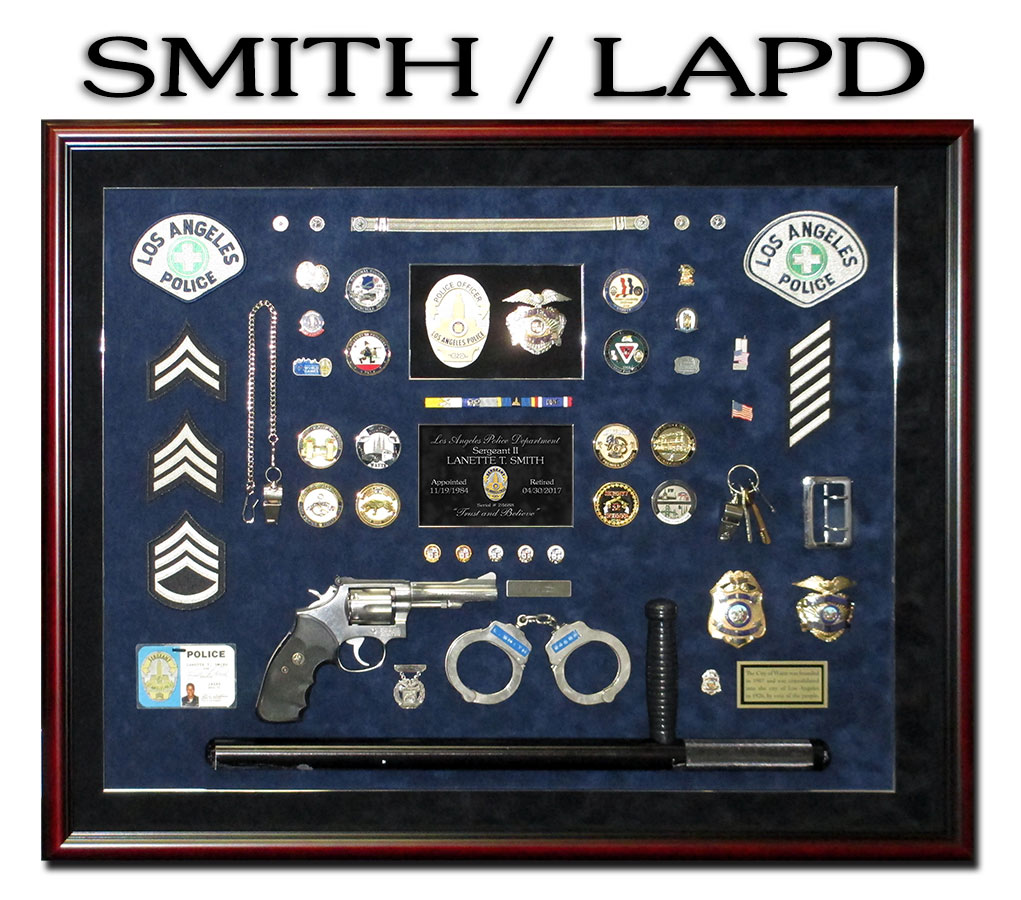LAPD Police Shadowbox from Badge Frame for Smith.