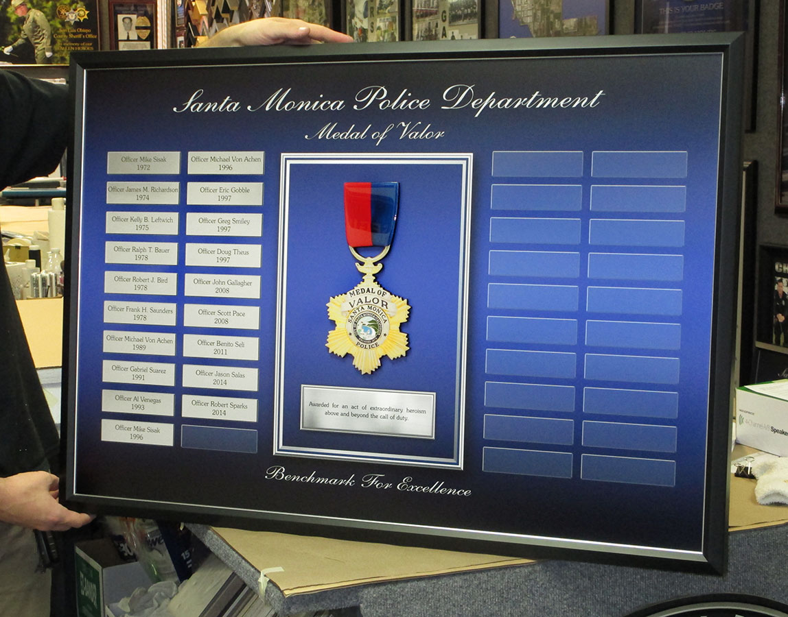 Santa Monica PD - Medal of Valor Perpetual Plaque from Badge Frame