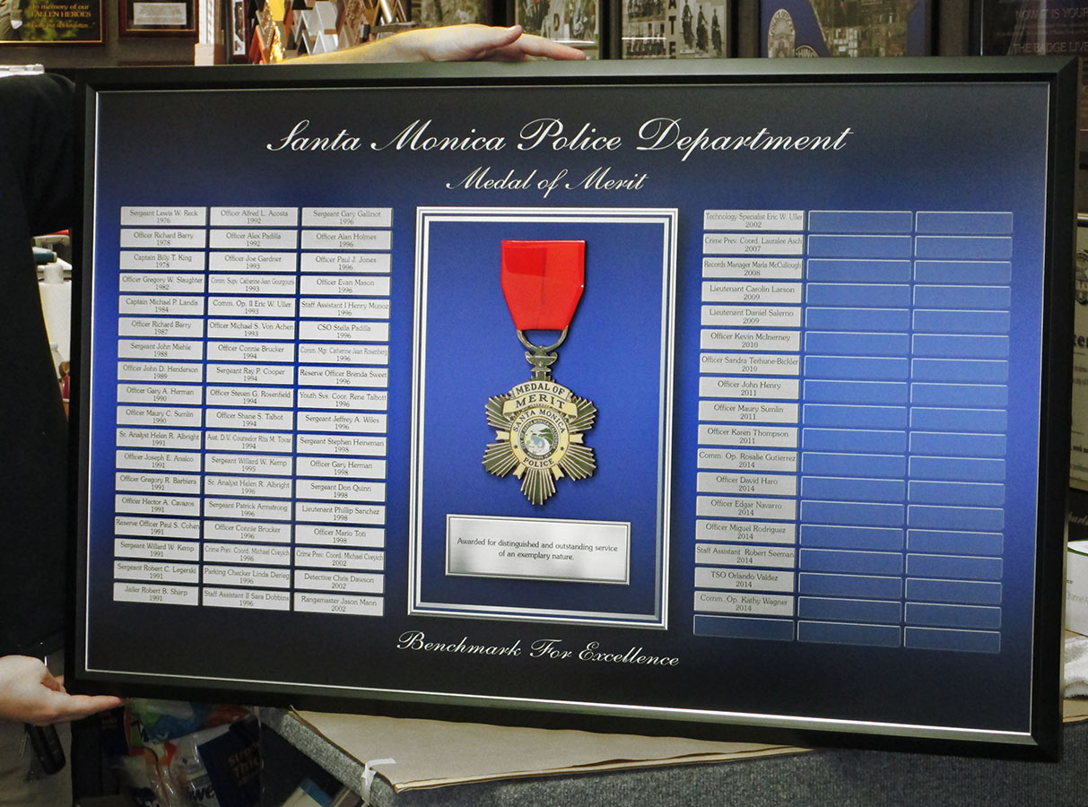 Santa Monica - Medal of Merit Perpetual Plaque from Badge Frame