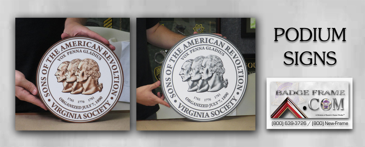 Sons of the American Revolution Podium Seals from Badge Frame