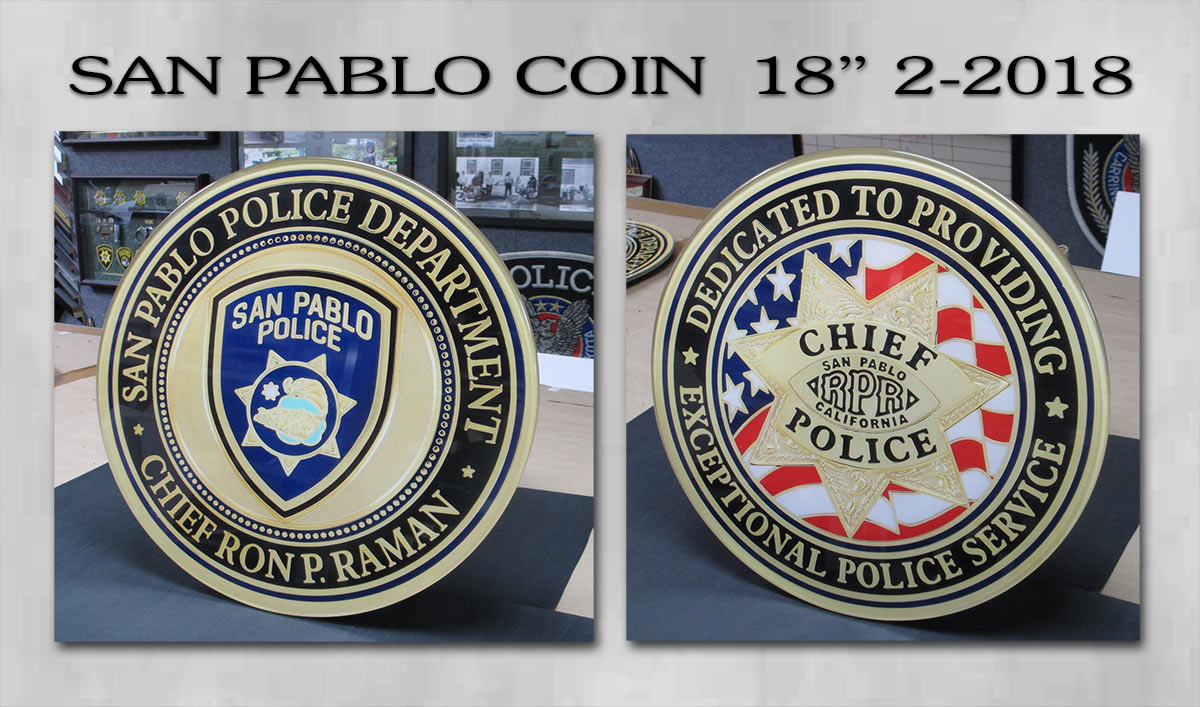 San Pablo PD Coin Reproductions from Badge Frame