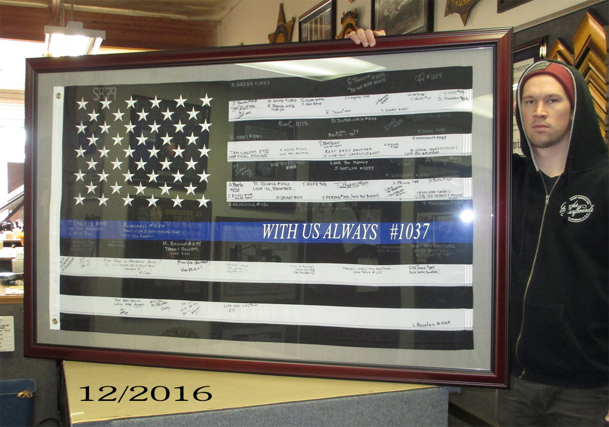 San Pablo PD - Signed Flag           Presentation from Badge Frame 12-2016