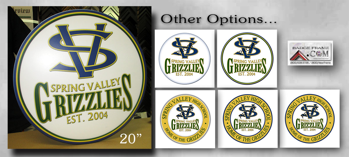 Spring                             Valley Grizzlies Emblem from Badge Frame