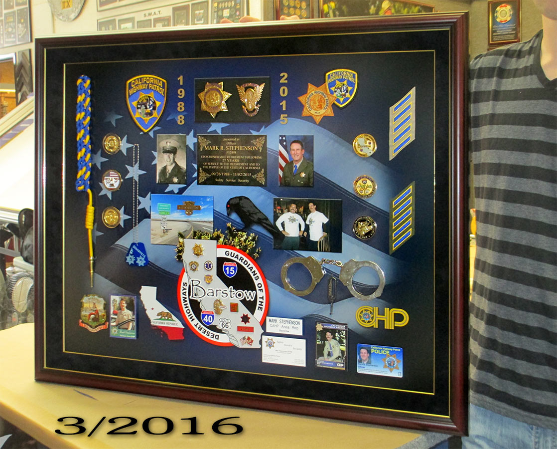 Stephenson                             -CHP Retirement Presentation from Badge                             Frame
