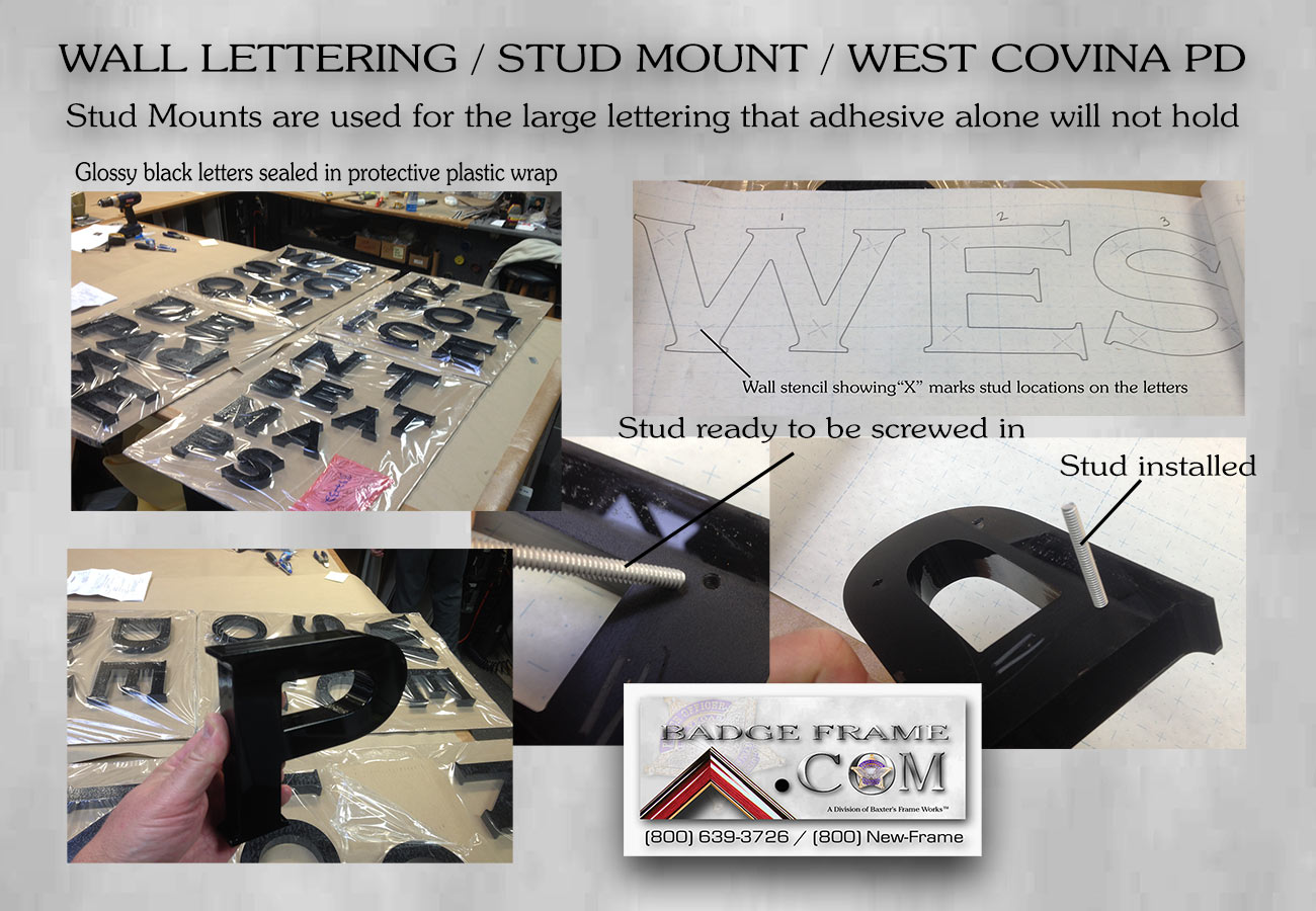 Wall lettering - Stud Mount from Badge Frame for West Covina PD