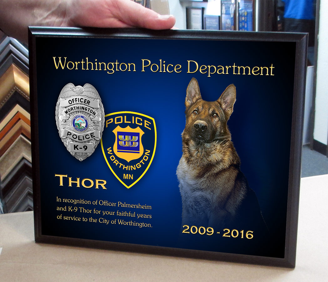 Thor - K9 Presentation           10.5X13 black recognition plaque from Badge Frame