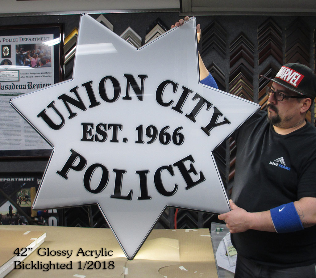 Union City PD - Oversize, backlighted, glossy acrylic badge from Badge Frame