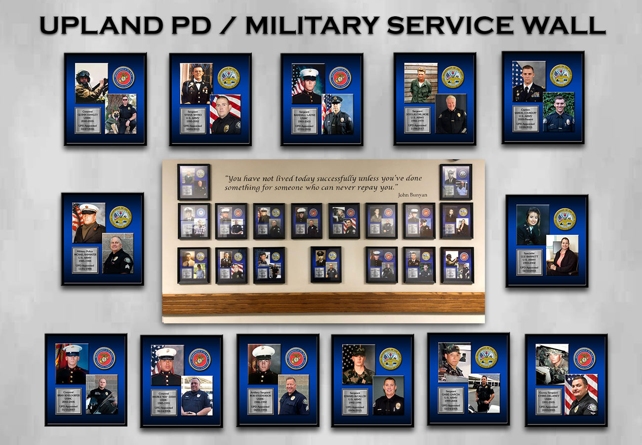 Upland PD Military Service Board from Badge Frame