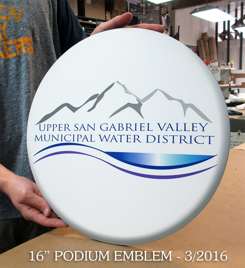 Upper San Gabriel                             Water District Podium Emblem from Badge                             Frame