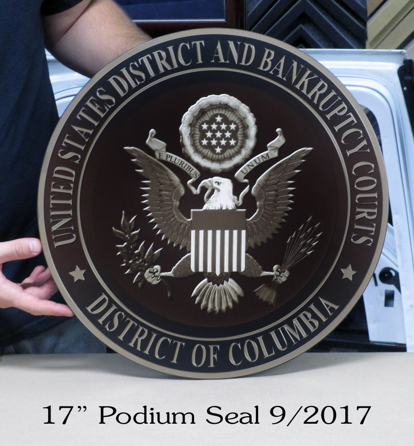 united States District and Bankruptcy Court Podium Seal from Badge Frame 9/2017