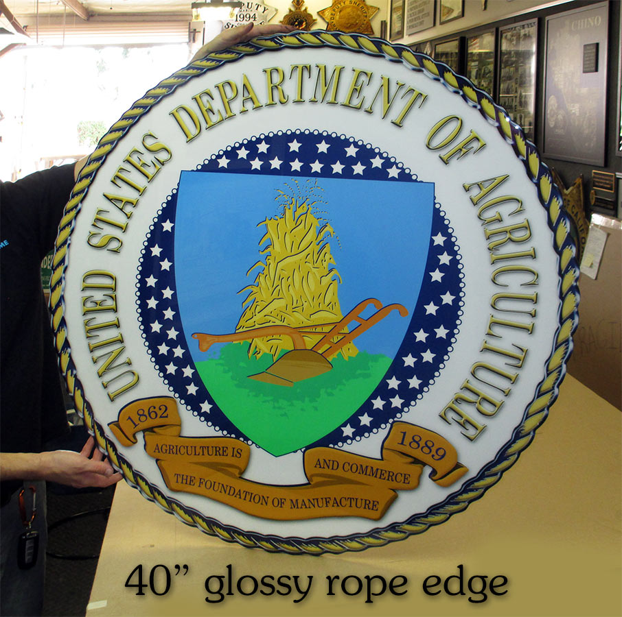 "US Dept. of Agriculture 40"" Seal from Badge Frame"