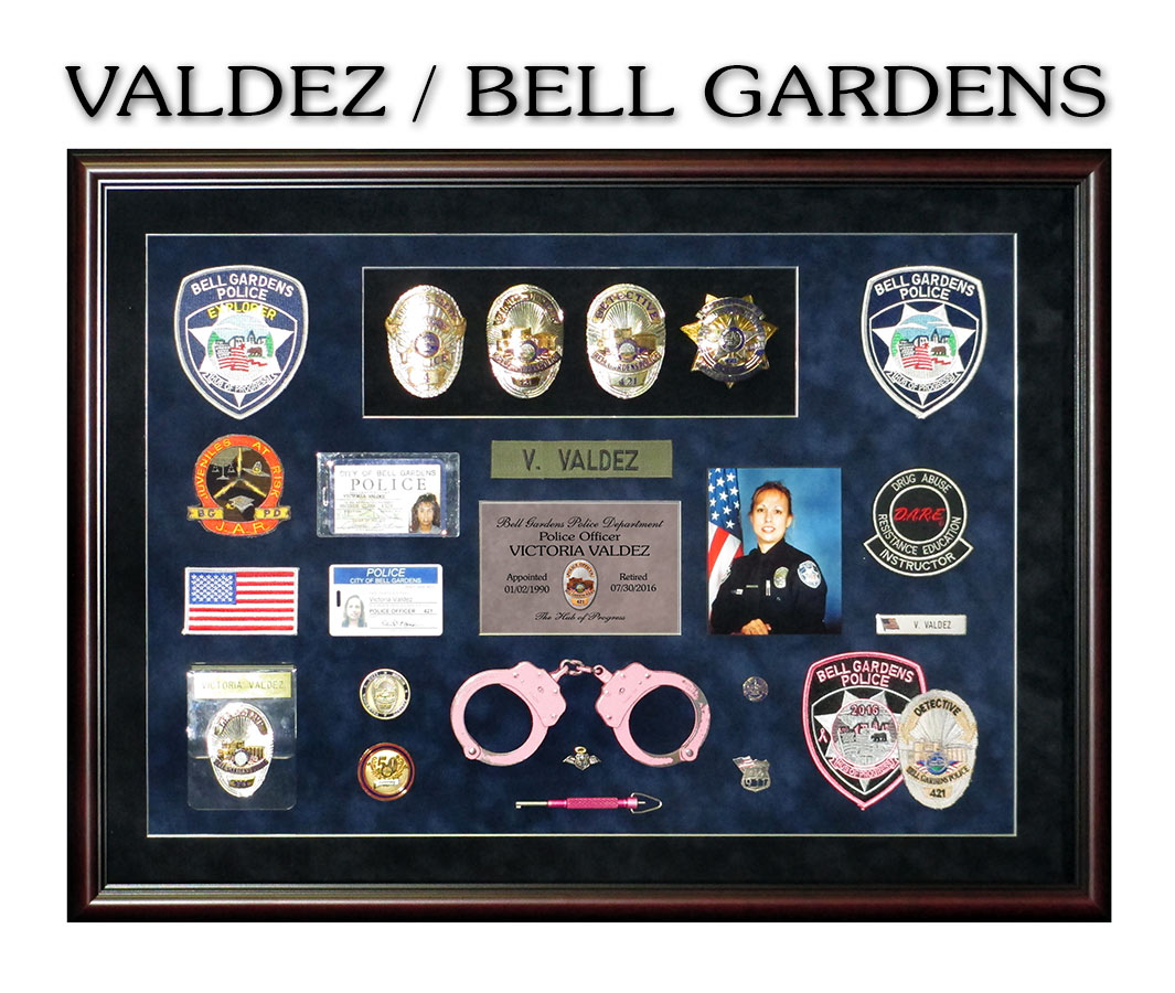 Valdez             - Bell Gardens Police Retirement Presentation from Badge             Frame