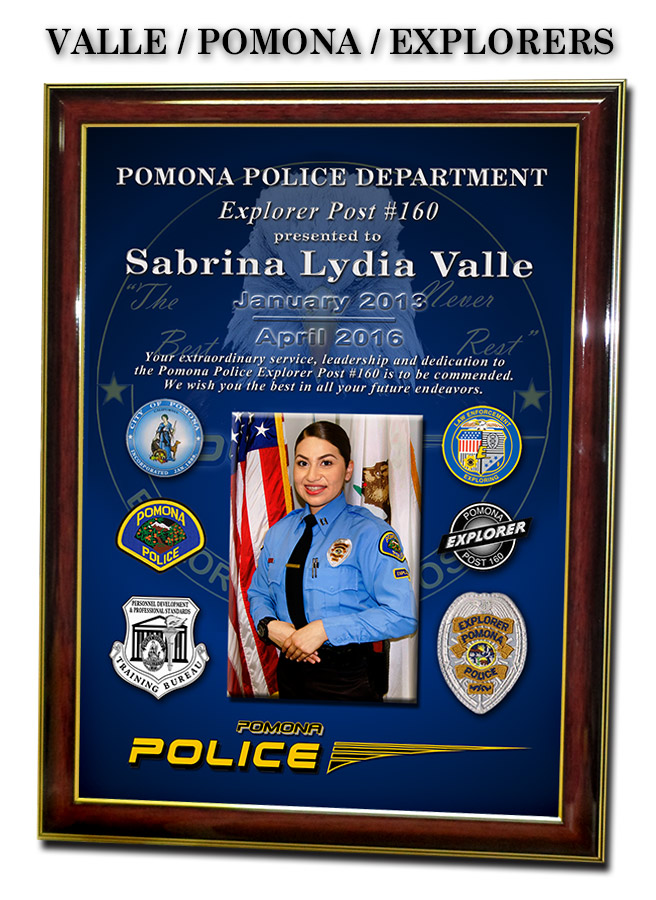 Valle / Pomona PD Explorer presentation                             from Badge Frame