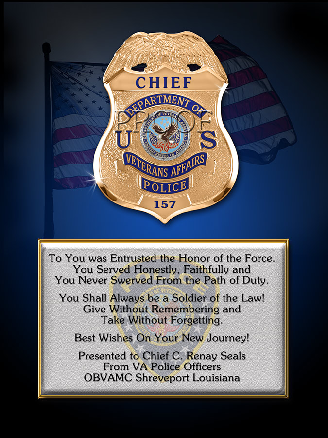 Department of                       Veteran's Affairs PD Recognition Plaque from Badge                       Frame
