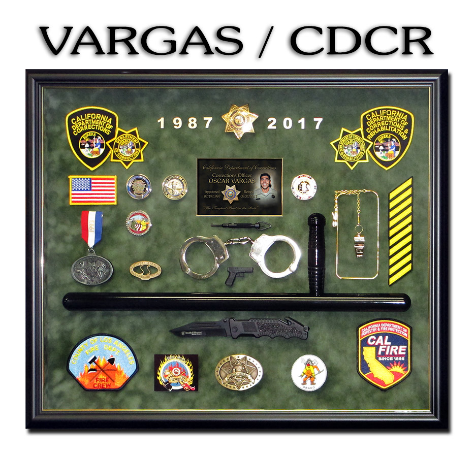 Correctional           Shadowbox Presentation from Badge Frame for Vargas - CDCR