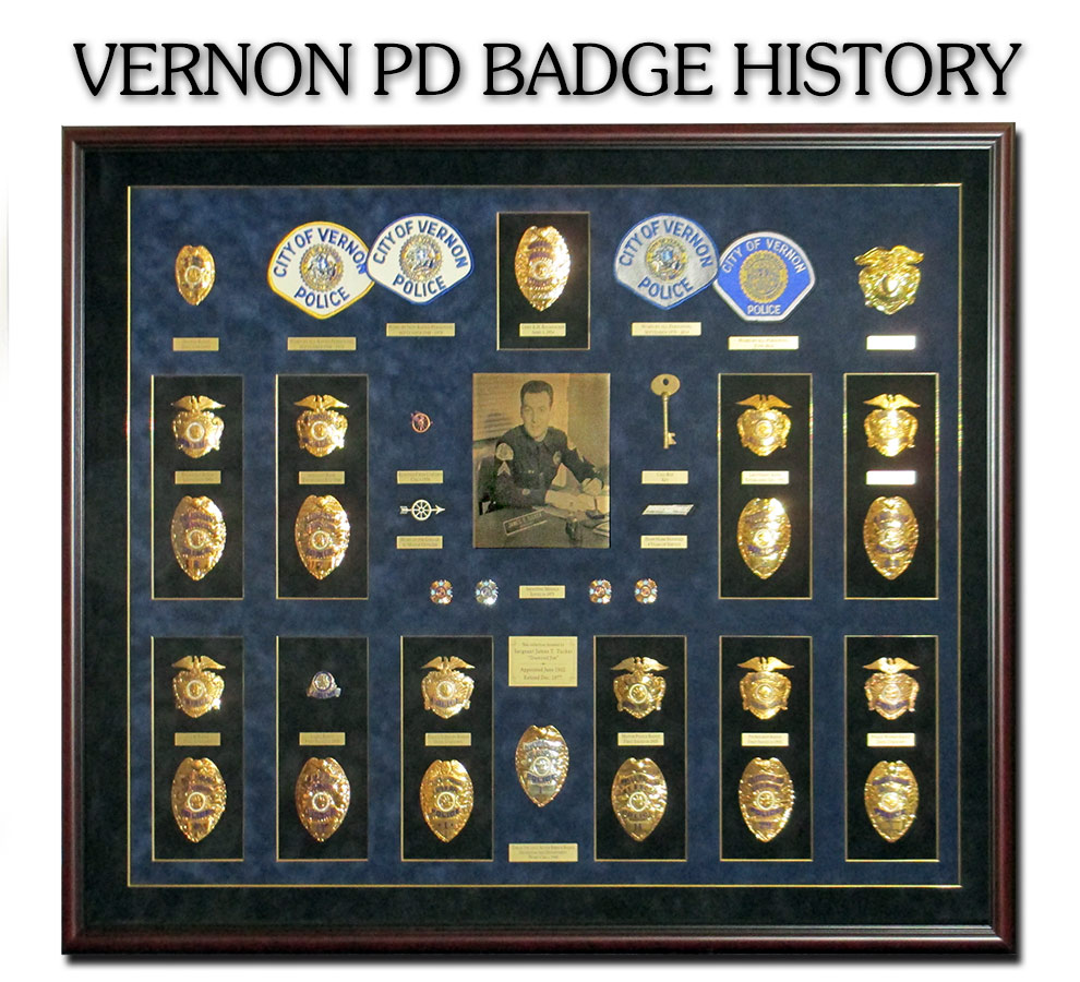 Vernon PD Badge History Shadowbox from                             Badge Frame 8/2016