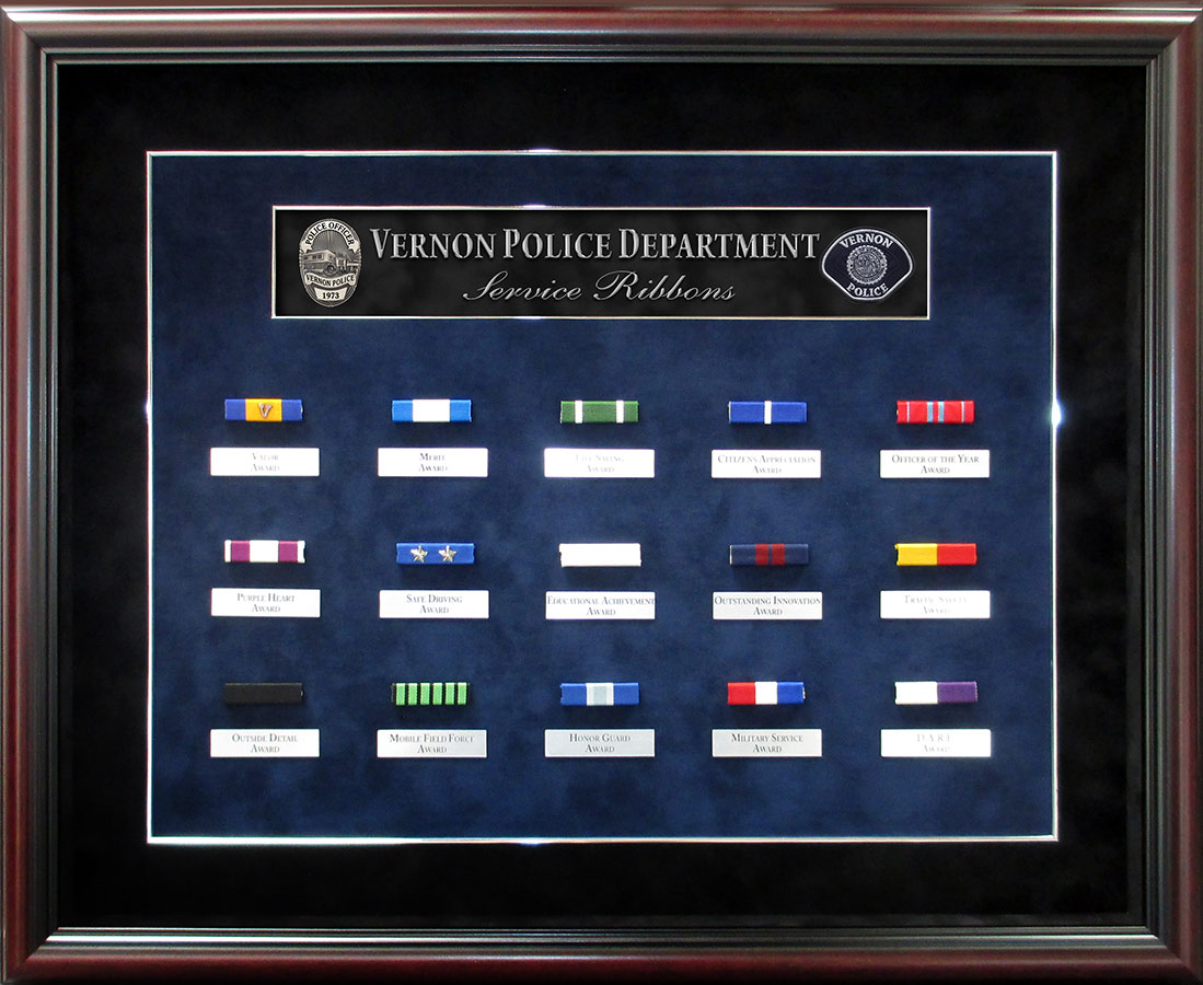Police Service Ribbons Presentation from Badge Frame for Vernon PD