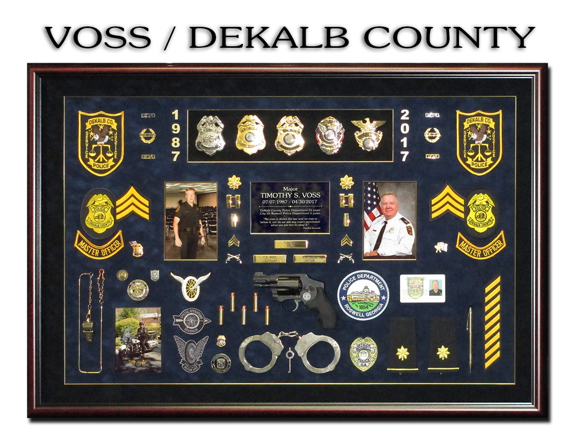 Voss / Dekalb County Police Retirement Shadowbox from Badge Frame