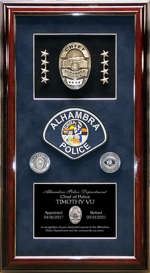 Alhambra Police Chief Timothy VU Retirement Presentation rom Badge Frame