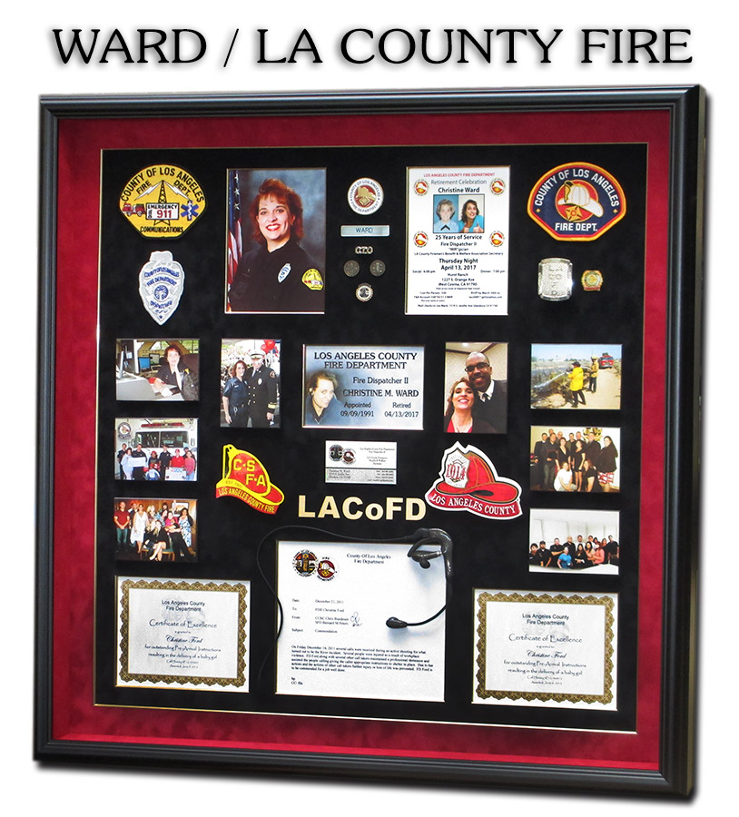 L.A.           County Fire Retirement Dispatch Shadowbox for