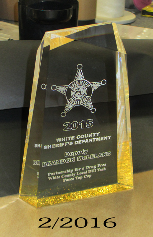 White County                             Sheriff's Department Acrylic Award from                             Badge Frame