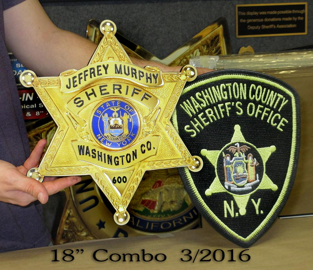 "Washington County Sheriff's 18""           badge & patch combo from Badge Frame"