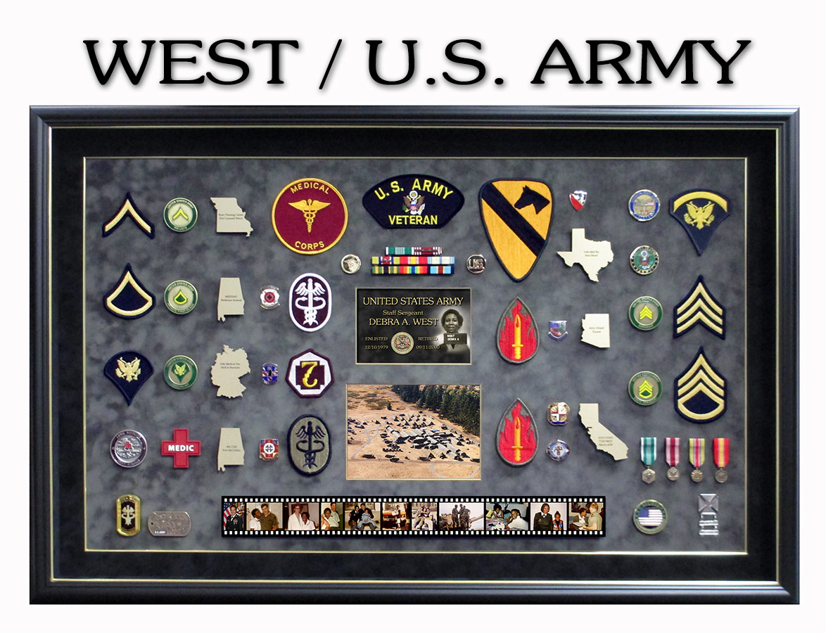 U.S. Army Retirement Shadowbox for Debra West from Badge Frame