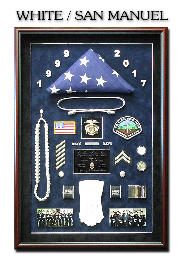 San Manuel Public Safety Retirement shadowbox from Badge Frame for White