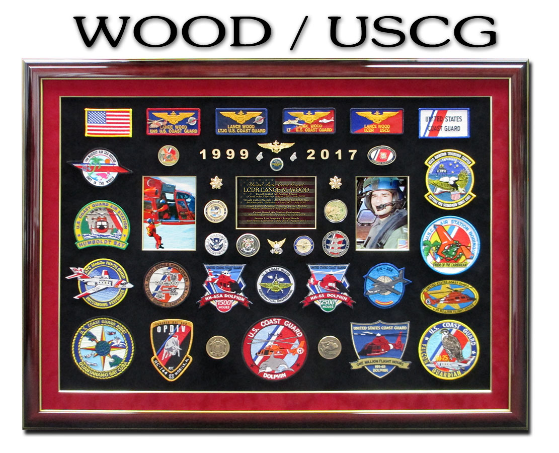 USCG Retirement Presentation form Badge Frame for Wood