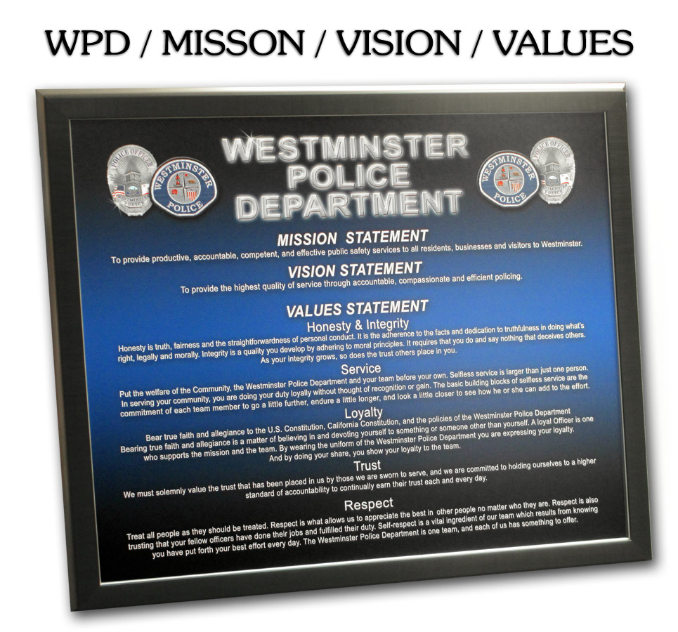 Westminster PD -                     Mission Vision Values