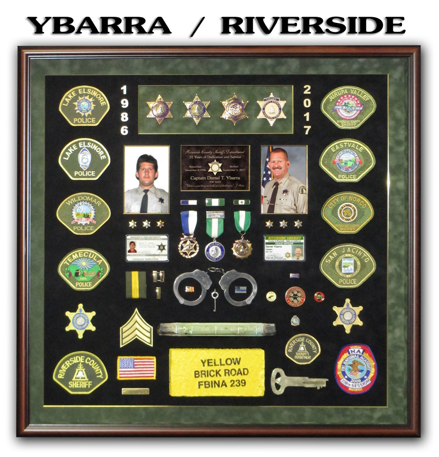 Ybarra - Riverside County Sheriff Retirement Shadowbox from Badge Frame