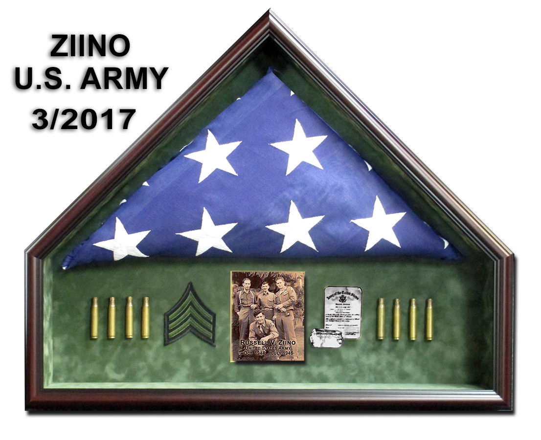 U.S. Army Flag Presentation from Badge Frame for Ziino